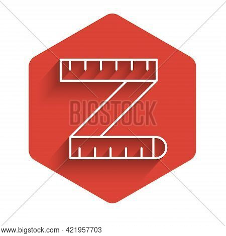 White Line Tape Measure Icon Isolated With Long Shadow. Measuring Tape. Red Hexagon Button. Vector