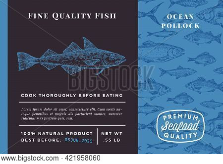 Premium Quality Ocean Pollock Abstract Vector Packaging Design Or Label. Modern Typography And Hand