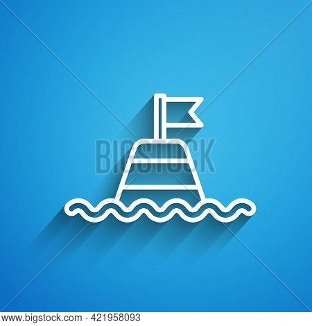 White Line Floating Buoy On The Sea Icon Isolated On Blue Background. Long Shadow. Vector