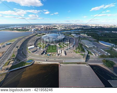 Russia, St.petersburg, 01 September 2020: Drone Point Of View Of New Stadium Gazprom Arena, Euro 202