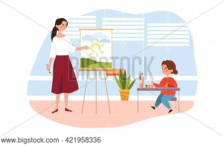Young Cute Girl In Drawing Class At School With A Female Teacher. Young Tutor Is Pointing At Paintin