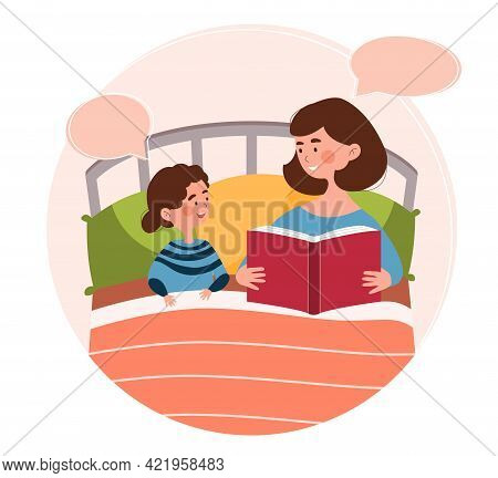 Smiling Mother Is Reading A Bedtime Fairytale To Her Young Daughter In Bed. Concept Of Mom Spending