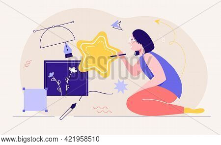 Young Creative Female Designer Is Working On Illustration. Young Creative Woman Kneels On The Floor