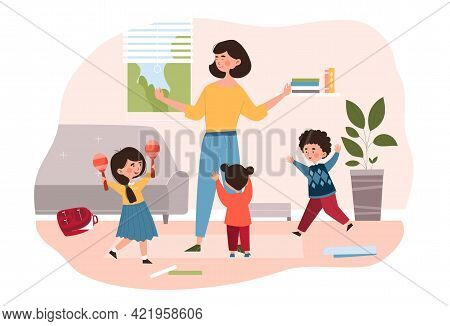 Young Relaxed Mother Stand With Three Young Children In Living Room. Parenting Concept With Three Li