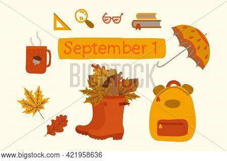 Autumn Collection September 1. Set Concept Children Are Going To School In The Fall. Umbrella, Backp