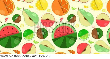 Seamless Pattern Of Different Fruits, Layout Of Fresh Fruitnatural Exotic, Tropical, Ripe, Healthy,