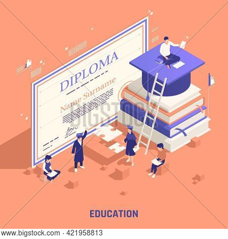 Self Promotion Branding Strategies Education Isometric Composition With Marketing Degree Diploma Onl