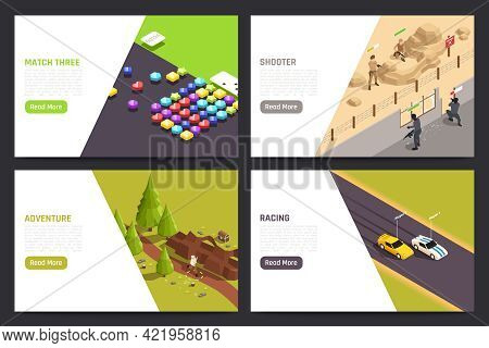 Mobile Gaming Apps 4 Isometric Pc Tablet Screens With Car Racing Adventure Shooter Shapes Matching V