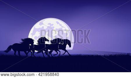 Wild Mustangs Running In Night Prairie Against Full Moon - Horse Herd Silhouette Landscape Vector De