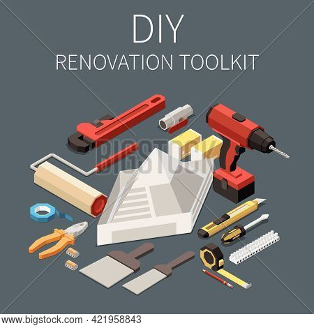 Isometric Diy Toolkit For Building Renovation With Drill Spatula Roller Pliers Screwdriver Knife 3d