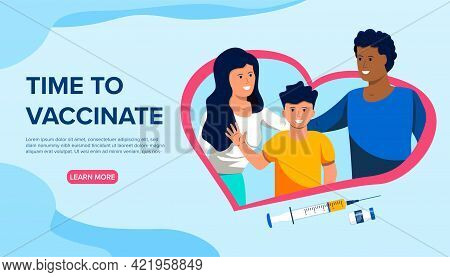 Young Healthy Family In A Heart And Syringe With Vaccine Below. Time To Vaccinate Healthcare. Concep