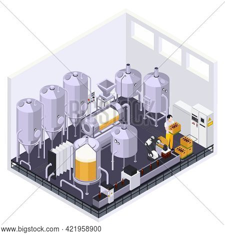 Brewery Beer Production Isometric Composition With Indoor View Of Metal Jars With Tubes And Conveyor