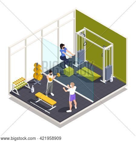 Gym Workout Center Pandemic Precautions Rules Isometric Composition With Strength Training In Facema
