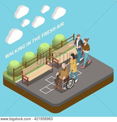 Elderly People Professional Social Help Service Isometric Composition With Text And Park Lane With W