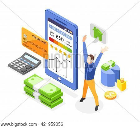 Isometric Composition With Happy Character Report With Credit Rating Card Money On White Background
