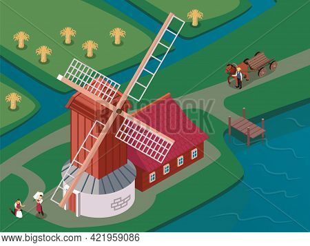 Old Fashioned Windmill With Sails Spinning Atop Of Wooden Tower Surrounded By Canals Isometric Compo