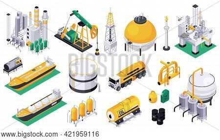 Oil Petroleum Industry Set Of Isolated Icons With Fuel Tanks Pipes Oil Pumps And Offshore Platform V
