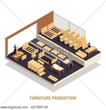 Furniture Production Isolated Isometric Concept Workshop With Finished Furniture And Lacquering Of F