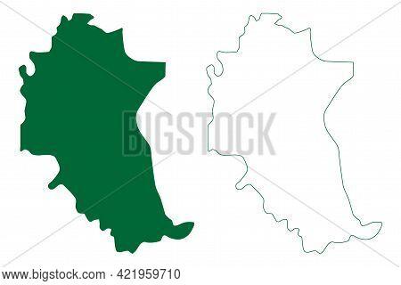 Parbhani District (maharashtra State, Aurangabad Division, Republic Of India) Map Vector Illustratio