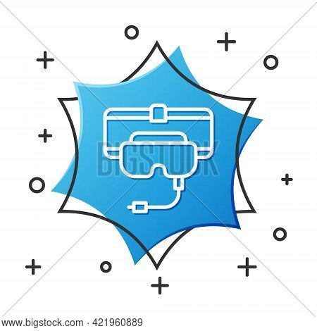 White Line Virtual Reality Glasses Icon Isolated On White Background. Stereoscopic 3d Vr Mask. Blue