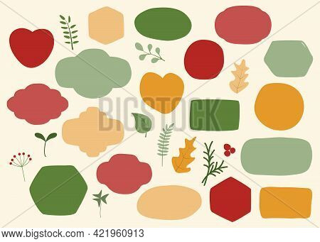 Vector Set Of Hand Drawn Various Shapes And Decor Elements In Autumn Colors. Collection Of Isolated