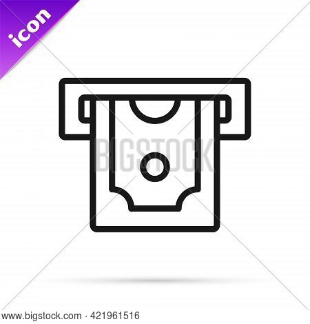 Black Line Atm - Automated Teller Machine And Money Icon Isolated On White Background. Vector