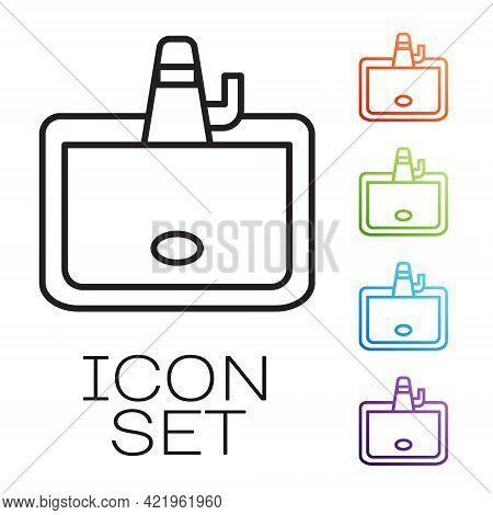 Black Line Washbasin With Water Tap Icon Isolated On White Background. Set Icons Colorful. Vector