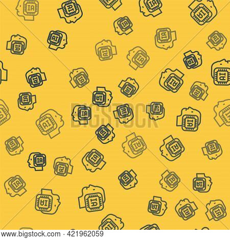 Blue Line Humanoid Robot Icon Isolated Seamless Pattern On Yellow Background. Artificial Intelligenc