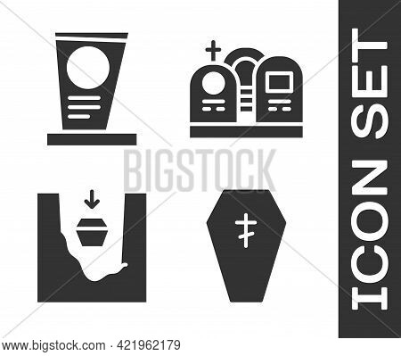Set Coffin With Cross, Grave With Tombstone, Coffin In Grave And Grave With Tombstone Icon. Vector