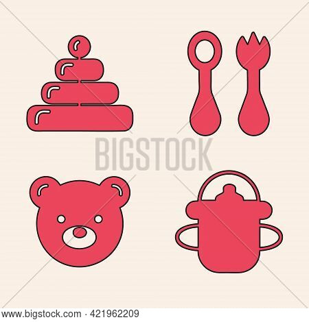 Set Baby Bottle, Pyramid Toy, Baby Cutlery With Fork And Spoon And Teddy Bear Plush Toy Icon. Vector