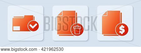 Set Delete File Document, Document Folder And Check Mark And Finance Document. White Square Button.