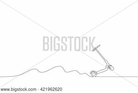 Riding Electric Scooter A Continuous Line Vector Illustration, Single Line Drawing Of Popular Modern