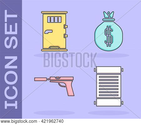 Set Decree, Paper, Parchment, Scroll, Prison Cell Door, Pistol Or Gun With Silencer And Money Bag Ic