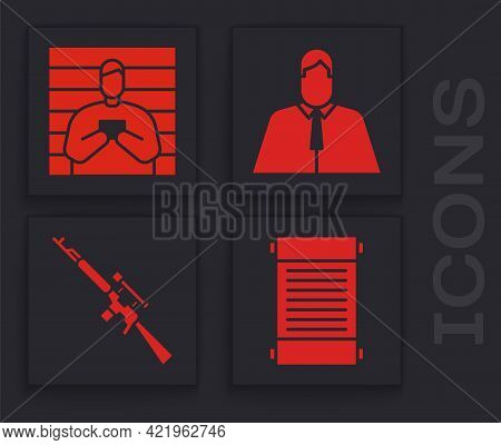 Set Decree, Paper, Parchment, Scroll, Suspect Criminal, Lawyer, Attorney, Jurist And Sniper Rifle Wi