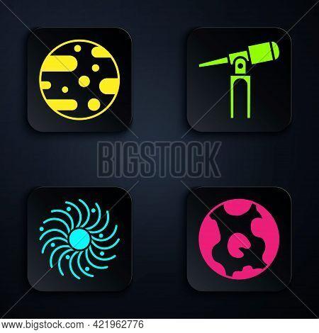 Set Earth Globe, Planet Mars, Black Hole And Telescope. Black Square Button. Vector