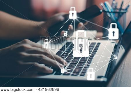 Cyber security internet and networking concept. information security and encryption, secure access to user\\\'s personal information, secure Internet access, cybersecurity.