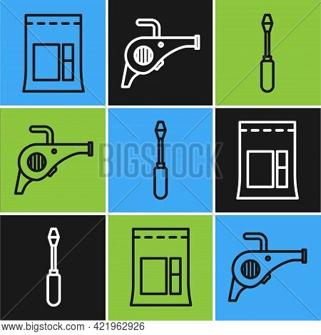 Set Line Cement Bag, Screwdriver And Leaf Garden Blower Icon. Vector