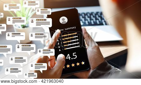Consumer Reviews Concepts. Online Surveys Via Smartphones. People Review Comments. Rating Or Feedbac