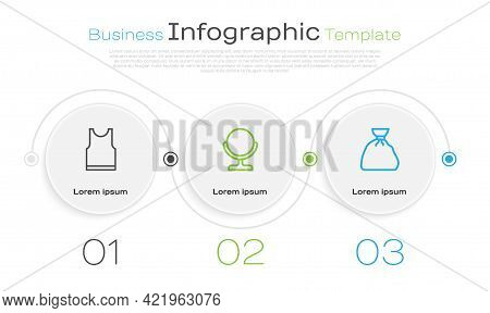 Set Line Sleeveless T-shirt, Round Makeup Mirror And Garbage Bag. Business Infographic Template. Vec