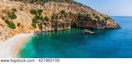 Panoramic Tropical Sea, Cove And Beach Landscape From Kas, Antalya, Turkey. Holiday, Travel And Tour