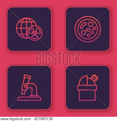 Set Line Planet Earth And Radiation, Microscope, Bacteria And Astronomical Observatory. Blue Square