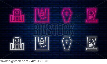 Set Line Coffin In Grave, With Cross, Grave Tombstone And . Glowing Neon Icon On Brick Wall. Vector