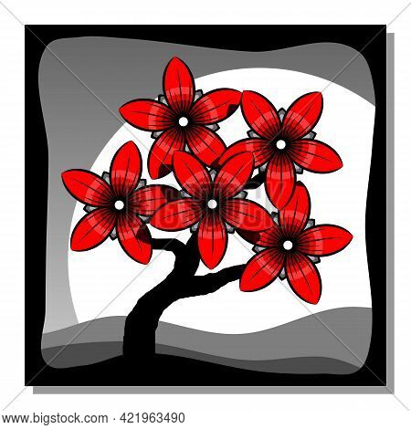 Blossom Of Red Flowers Of Tree. Abstract Landscape. Wall Decor, Poster Design. Vector Illustration.