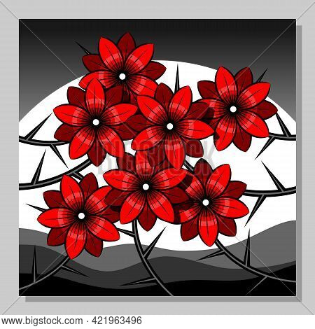 Stylized Landscape With Red Flowers Against The Background Of The Moon. Wall Decor, Poster Design. V