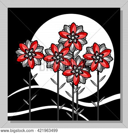 Stylized Landscape With Red Flowers Against The Background Of The Moon.