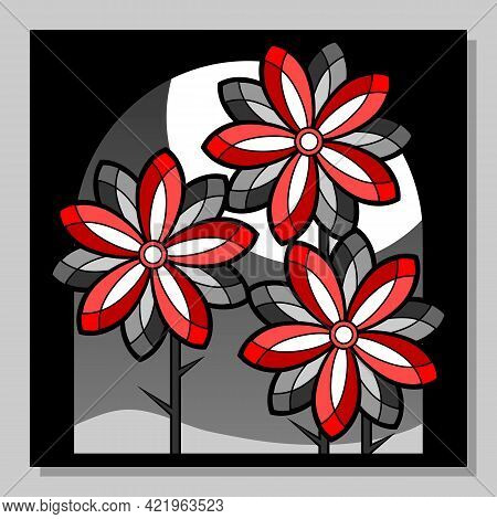 Abstract Composition With Stylized Red Flowers. Floral Background. Wall Art, Poster Design.