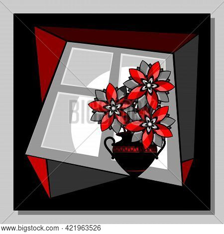 Stylized Red Flowers In A Vase At The Window. Abstract Wall Art, Poster Design.