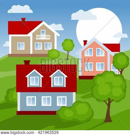Landscape With Village Houses And Trees On Green Hills. Vector Illustration.