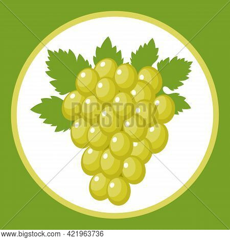 Drawn Stylized Bunch Of Grapes With A Leaf. Vector Illustration.