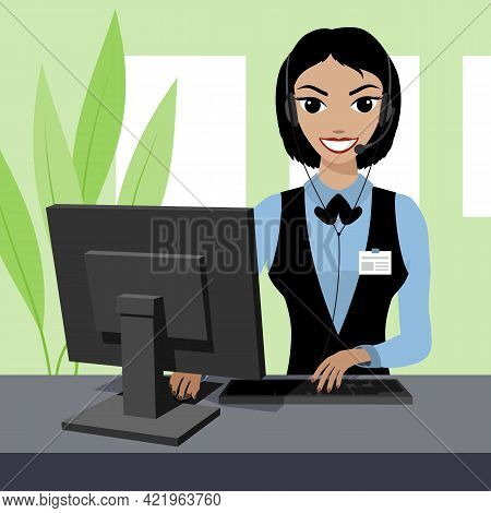 Smiling Young Woman Helpline Operator With Headset Using Computer At Office. Vector Illustration.